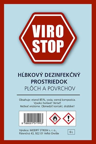 Dezinfekčný prostriedok VIROSTOP na báze Bio Etanolu, 1/liter sklennna fľaša.